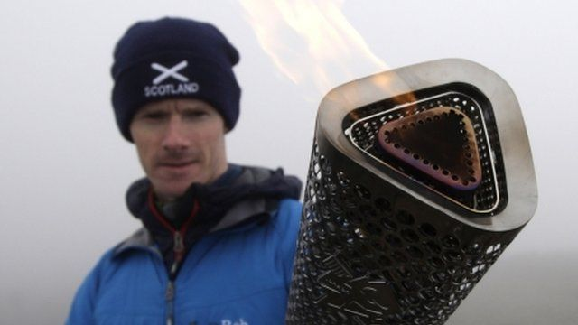 Kevin Shields with the Scottish Paralympic Flame