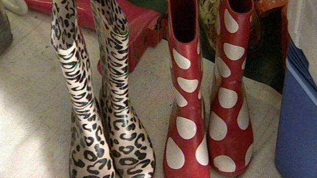 Abandoned wellington boots