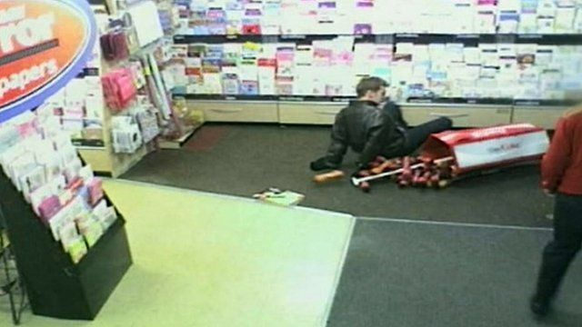 James Allan falling over in the newsagents