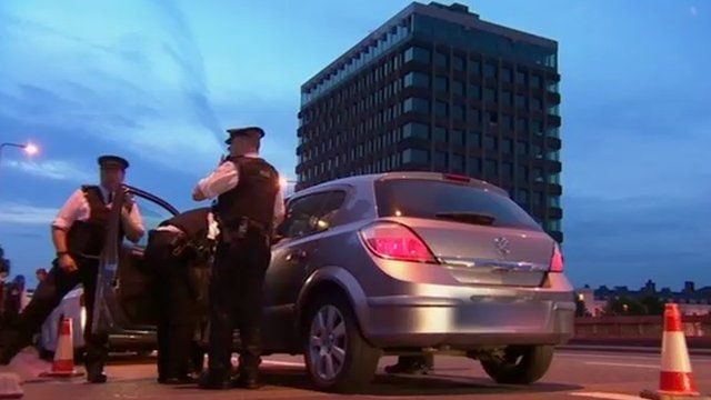 Met Police searching a car