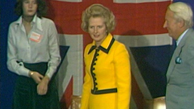 Margaret Thatcher in one of the suits which will be auctioned