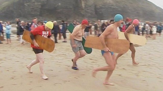 Bellyboarders at Chapel Porth