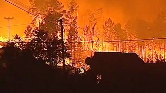 Wild fire in Ourem, Portugal (3 Sept 2012)