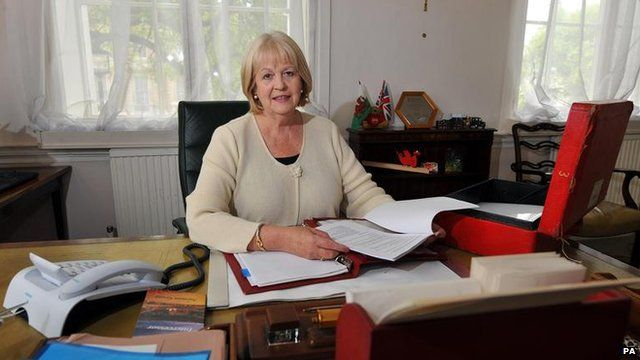 Ex-Welsh secretary Cheryl Gillan at her desk in the Welsh Office, Gwydr House, Whitehall, London