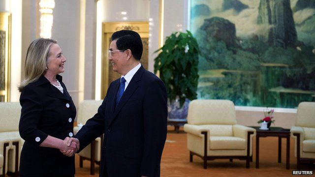 Hillary Clinton and Hu Jintao