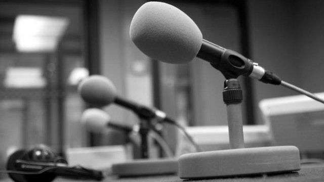 Microphone in BBC Radio News Studio