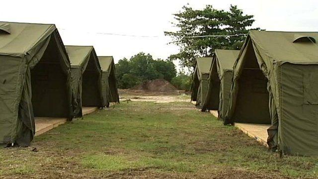 Tents in asylum camp