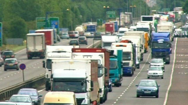 Trucks and cars on the M4 outside London