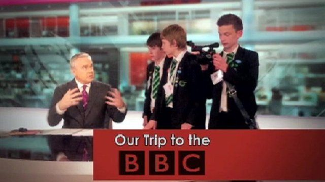 School Reporters with Huw Edwards