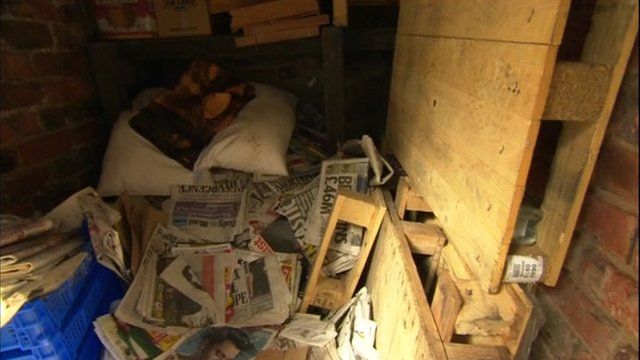 Out-building filled with newspaper