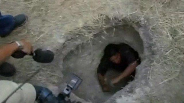 Man inside tunnel outside Piedras Negras prison in Mexico