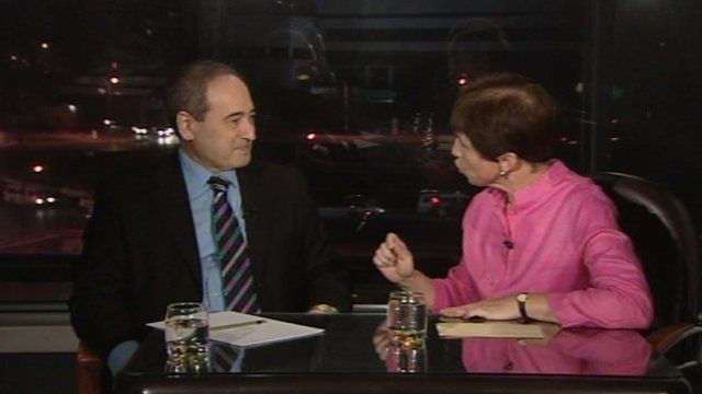 Syrian deputy Foreign Minister Faisal Mekdad and the BBC's Lyse Doucet