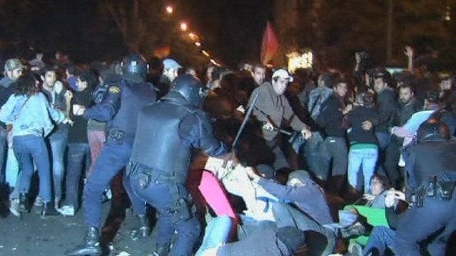 Police clashing with protesters