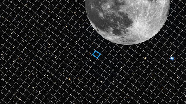 The size of the patch of sky captured in Hubble's XDF image, compared to the Moon