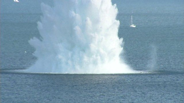 Royal Navy bomb disposal team have safely detonated a large WWII mine