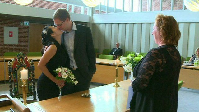 German couple kissing in a Danish church