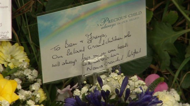 Flower tributes from the grandparents of Ben and Freya Pedersen