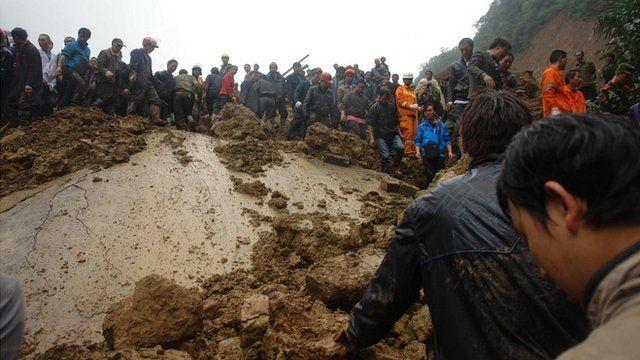 Scene of landslide in Yiliang, Yunnan, China on 4/10/12