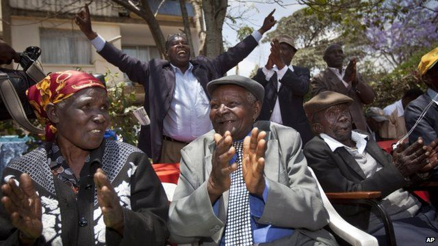 The claimants, (l-r) Jane Muthoni Mara, Wambuga Wa Nyingi and Paulo Muoka Nzili celebrated the news in Nairobi, Kenya