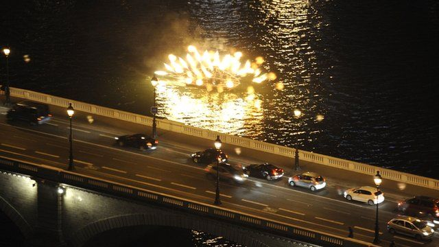 Fireworks on the river Seine