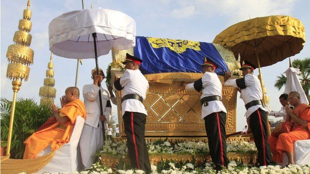 The casket containing the body of Cambodia's late King Norodom Sihanouk