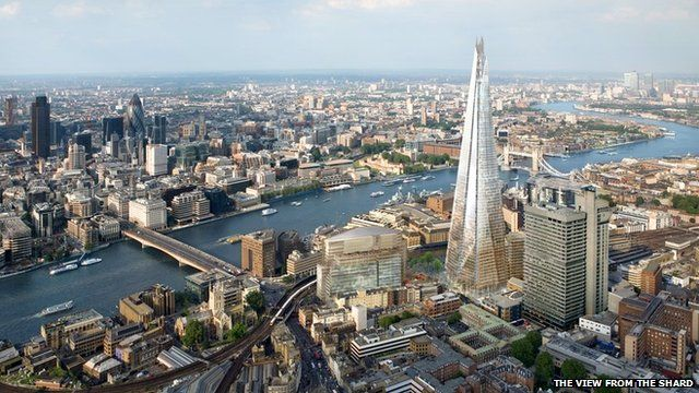 Aerial view of The Shard