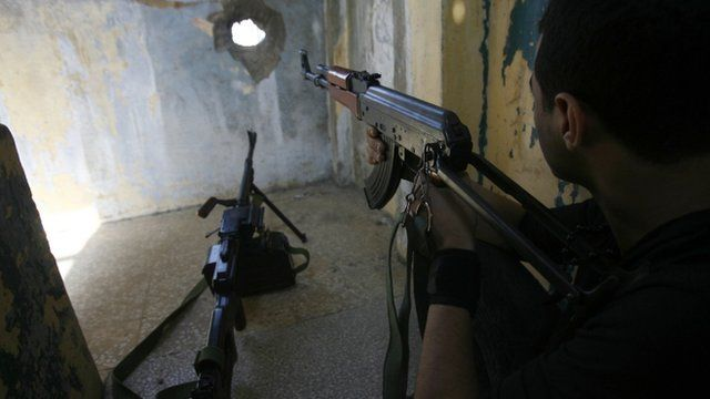 Member of Hezbollah with gun