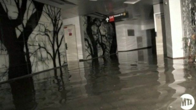 New York subway flooded