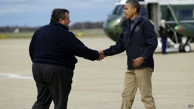 President Barack Obama is greeted by New Jersey Gov. Chris Christie upon his arrival at Atlantic City Int Airport