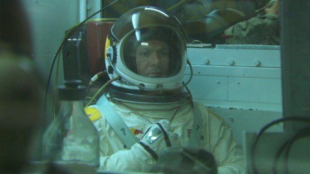 Felix Baumgartner training in his pressure suit