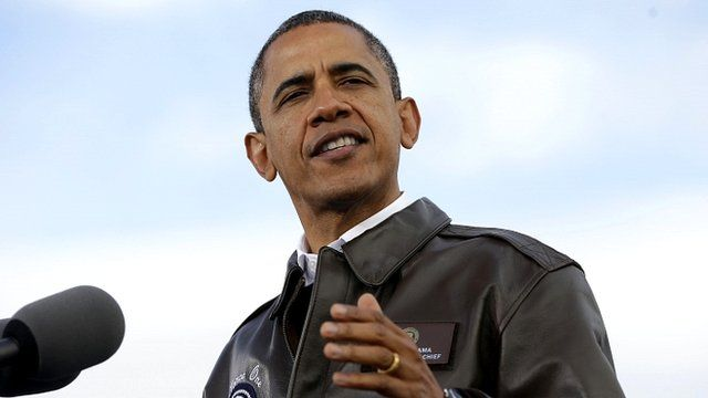 President Barack Obama at a campaign event in Wisconsin