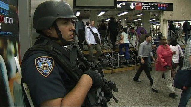 Armed police officer in New York