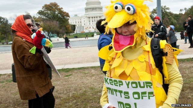 "A woman wearing a costume of Sesame Street character Big Bird holds a sign in support of public broadcasting during the ""Million Puppet March"" in Washington"