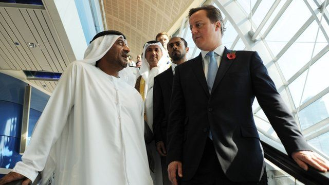 His Highness Sheikh Ahmed bin Saeed al Maktoum with David Cameron in Dubai