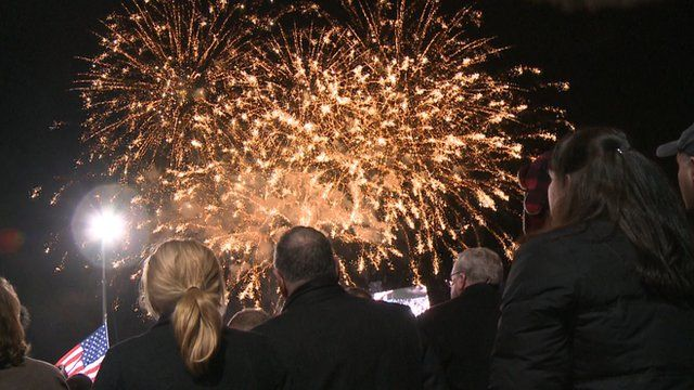 Fireworks at Romney rally
