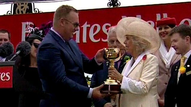Duchess of Cornwall presenting trophy