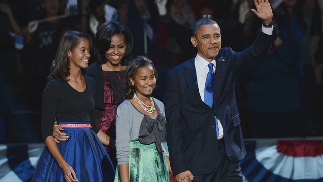 US President Barack Obama and his family