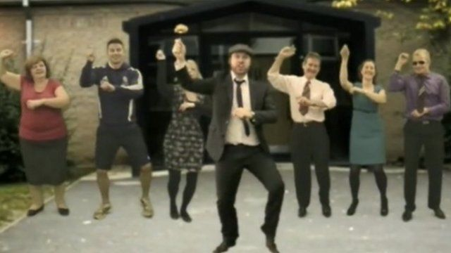 Teachers at Tadcaster Grammar School performing the Gangnam Style dance