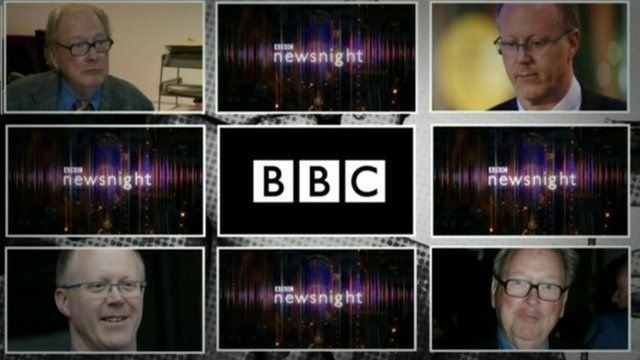 BBC graphic showing Lord McAlpine, Newsnight logo and George Entwistle