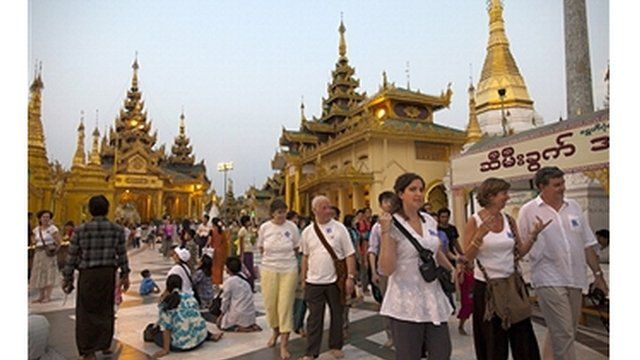 Foreign tourists at the Shwedagon pagoda in Yangon, Myanmar
