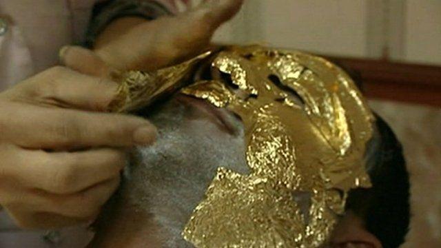Gold leaf facial treatment