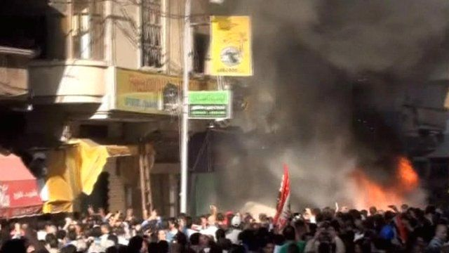 Fire outside the Muslim Brotherhood offices in Alexandria