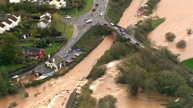 Aerial views of flooding in Exeter