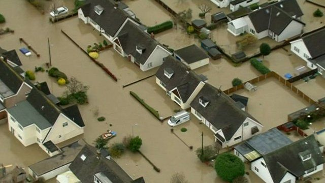Flooded homes in St Asaph