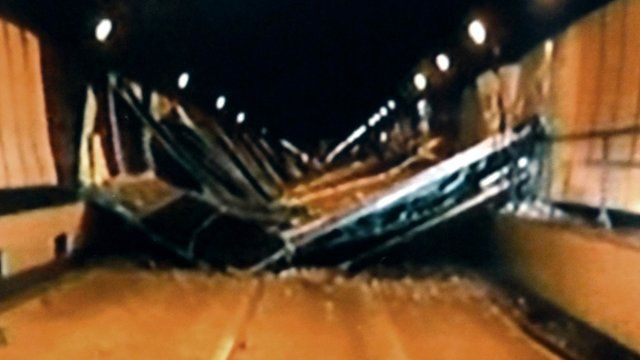 Concrete ceiling panels collapsed inside the Sasago Tunnel