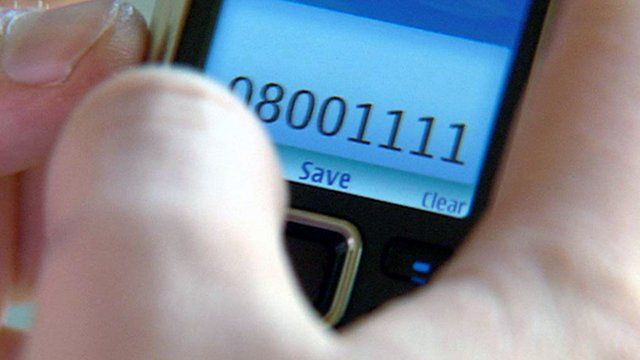 ChildLine number on a mobile phone