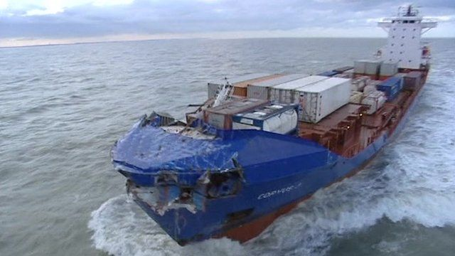 Damaged container ship Corvus J