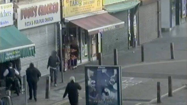 CCTV footage scene outside the butcher's shop