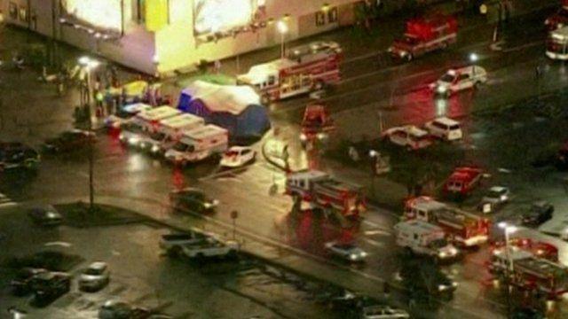 Emergency vehicles outside the Clackamas Shopping Center Oregon
