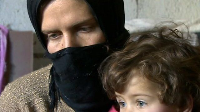 Syrian mother and baby refugees